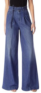 7 For All Mankind Relaxed Denim Palazzo Boho Runway Wide Leg Pants Blue