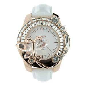 Geneva Genuine Leather Butterfly Adorned Watch w/ Rhinestones