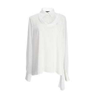 Compagnia Italiana Italian Designer Long Sleeve Shirt High-low Sheer Top White