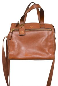 Fossil Brown Leather Crossbody Satchel in Camel
