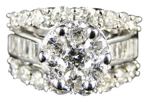 Other 14K White Gold Round Cut Diamond Engagement Wedding Ring 3.0Ct