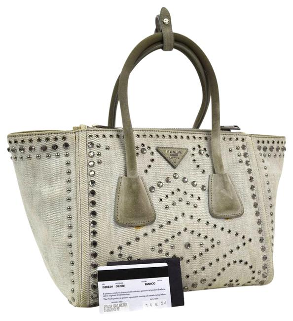 Item - Rhinestone and Studded Trapeze Gray Canvas Shoulder Bag
