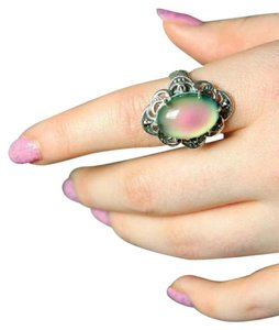 Victorian Trading Co Sterling Silver Filigree Color Changing Mood Ring Sz 8