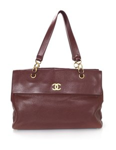 Chanel Caviar Leather Cc Tote in Burgundy