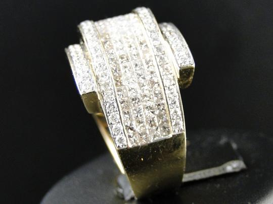 Other Mens Yellow Gold Princess Cut Diamond Curved Pinky Fashion Ring 4.75Ct Image 1