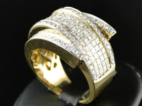 Other Mens Yellow Gold Princess Cut Diamond Curved Pinky Fashion Ring 4.75Ct Image 3