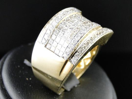 Other Mens Yellow Gold Princess Cut Diamond Curved Pinky Fashion Ring 4.75Ct Image 5
