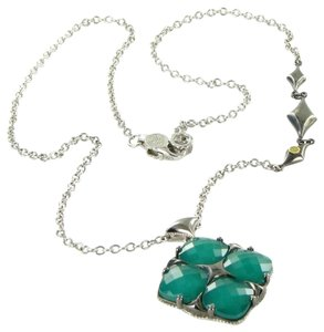 Tacori 18k925 Necklace City Lights Embellished Chain Green Onyx Clear Quartz