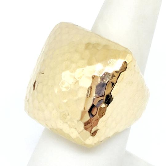 Roberto Coin Roberto Coin Martellato 18K Gold Hammered Square Large Dome Ring Image 1