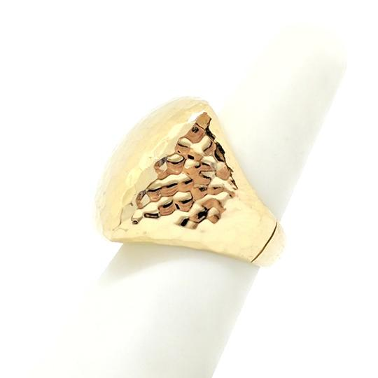 Roberto Coin Roberto Coin Martellato 18K Gold Hammered Square Large Dome Ring Image 2