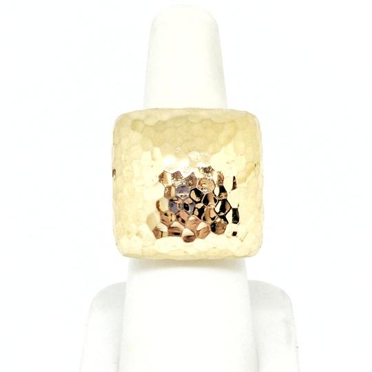 Roberto Coin Roberto Coin Martellato 18K Gold Hammered Square Large Dome Ring Image 3