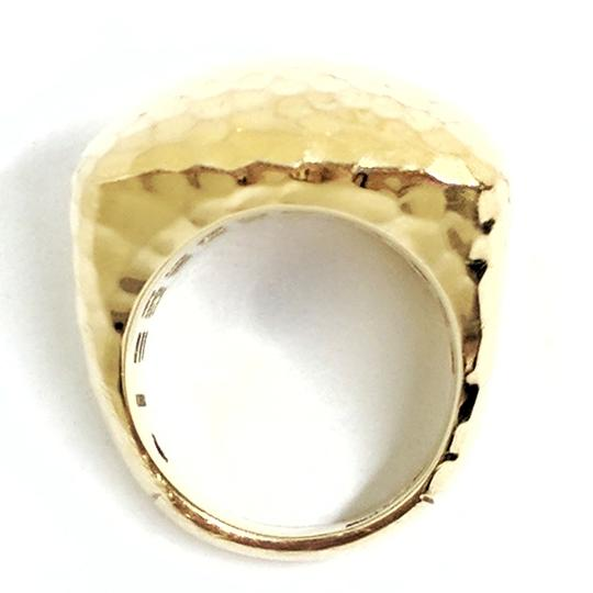 Roberto Coin Roberto Coin Martellato 18K Gold Hammered Square Large Dome Ring Image 5