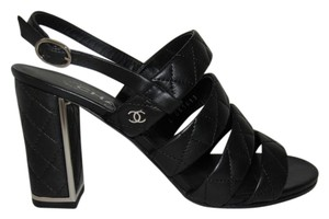 Chanel Quilted Leather Cc Logo Silver Metal Cc Classic Black Sandals