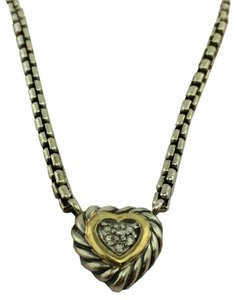 David Yurman David Yurman Silver 18k Gold Diamond Cable Heart Pendant Necklace