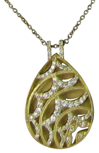 Item - 18k Yellow Gold and Diamonds Champagne Sunset Pendant Yg 0.51ct Necklace