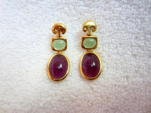 MMA Metropolitan Museum of NY MMA Metropolitan Museum Earrings Purple Cabochon Green Dangle Drop