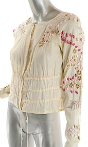 Dries van Noten Cotton Embroidered Easter Top natural w/multi color