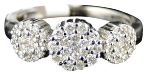 Other 14K White Gold 3 Stone Cluster Round Cut Diamond Ring 1/2 Ct
