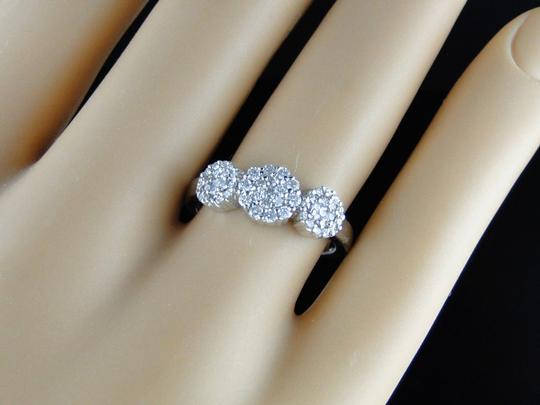 Other 14K White Gold 3 Stone Cluster Round Cut Diamond Ring 1/2 Ct Image 2