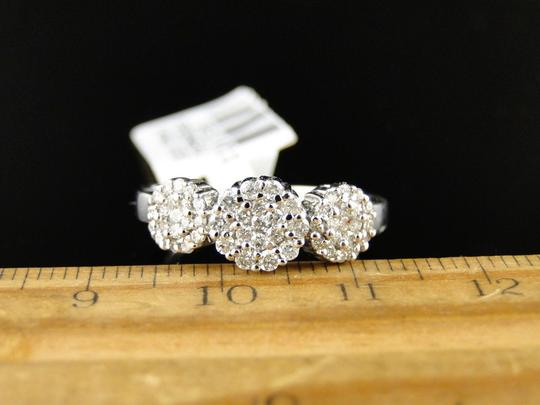 Other 14K White Gold 3 Stone Cluster Round Cut Diamond Ring 1/2 Ct Image 3