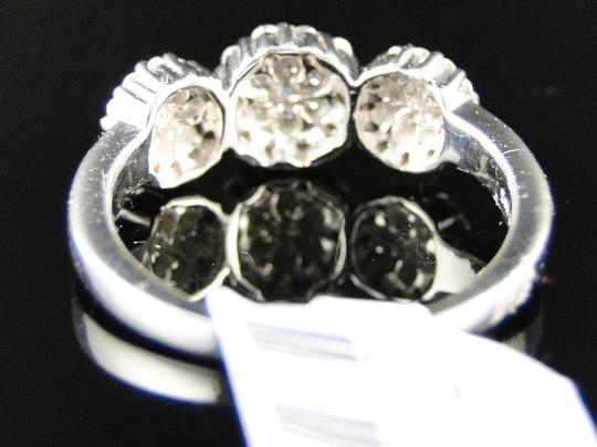 Other 14K White Gold 3 Stone Cluster Round Cut Diamond Ring 1/2 Ct Image 4