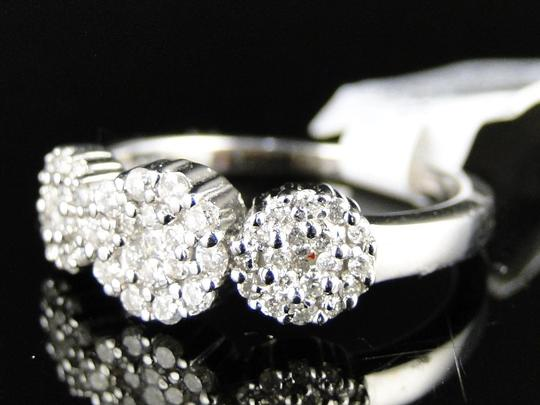 Other 14K White Gold 3 Stone Cluster Round Cut Diamond Ring 1/2 Ct Image 5