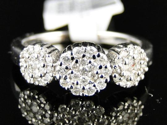 Other 14K White Gold 3 Stone Cluster Round Cut Diamond Ring 1/2 Ct Image 6