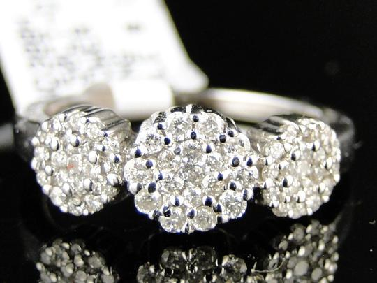 Other 14K White Gold 3 Stone Cluster Round Cut Diamond Ring 1/2 Ct Image 7