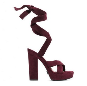 Michael Kors Collection Suede High Block Heel Strappy Plum purple Sandals
