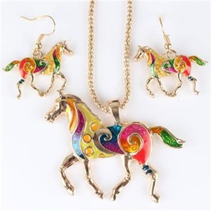 Colorful Horse Necklace Earring Set Free Shipping