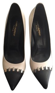 Saint Laurent Rare Two-tone Hardware Silver Hardware Leather Ivory/Black Pumps