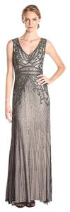 Adrianna Papell V-neck Beaded Gown Evening Sleeveless Dress