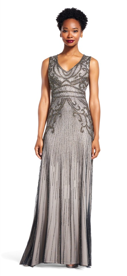 Adrianna Papell Platinum Sleeveless Beaded Gown With V Neck Long