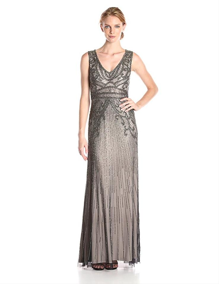 Adrianna Papell Platinum Sleeveless Beaded Gown with V-neck Long ...
