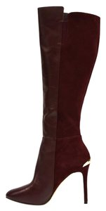 MICHAEL Michael Kors Suede & Leather Zip Closure Gold Hardware Burgundy Boots