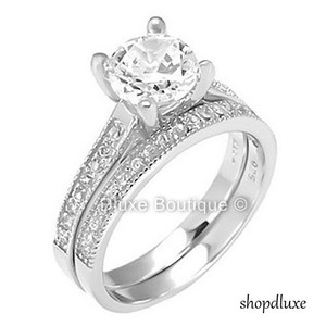 2.05 Ct Round Sterling Silver Solitaire Engagement Wedding Ring Set