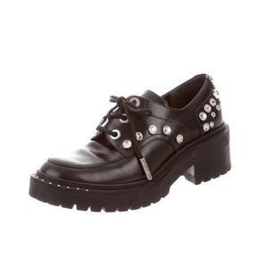 Kenzo Studded Crystal Leather Patent Leather Oxford Black Platforms