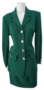 St. John St. John Collections by Marie Gray Green Knit Classic Skirt Suit