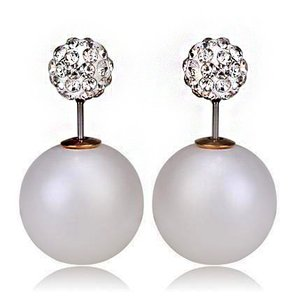 double pearl earrings Double pearl shamballa disco ball ear jacket stud earrings
