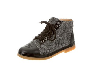 Chanel Leather Tweed Boots Sneakers Black, Charcoal Flats