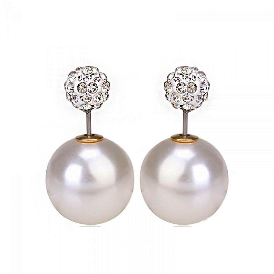 Double Pearl Earrings Shamballa Disco Ball Ear Jacket Stud
