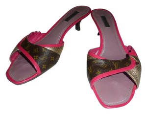 Louis Vuitton FUSCHIA, GOLD & MONOGRAM BROWN Mules