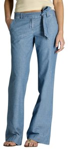 J.Crew Chambray Faded Denim Pants City Fit Denim Trouser/Wide Leg Jeans-Light Wash