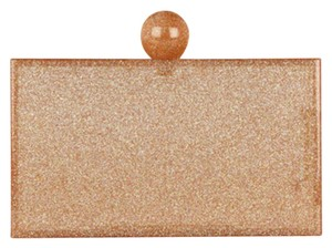 Charlotte Olympia Rose Gold Glitter & Clear Clutch