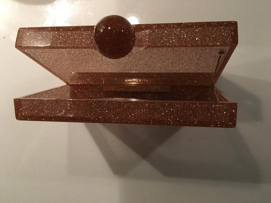 Charlotte Olympia Rose Gold Glitter & Clear Clutch Image 1
