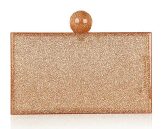 Charlotte Olympia Rose Gold Glitter & Clear Clutch Image 5