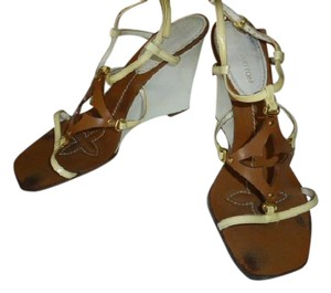 Louis Vuitton WHITE HEEL, LT YELLOW STRAP BROWN Wedges