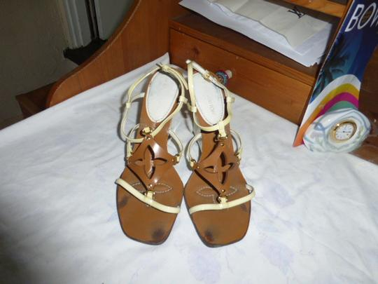 Louis Vuitton WHITE HEEL, LT YELLOW STRAP BROWN Wedges Image 2