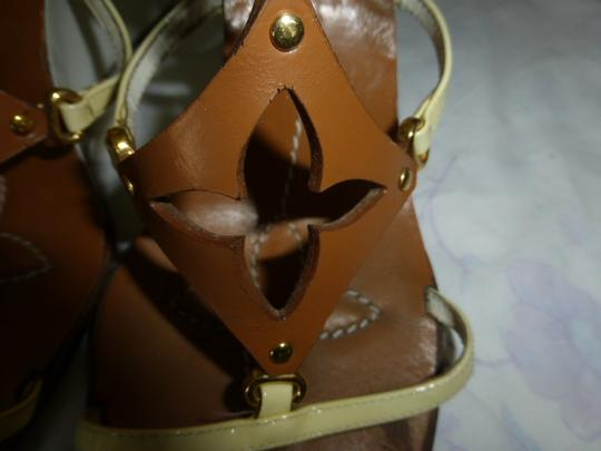 Louis Vuitton WHITE HEEL, LT YELLOW STRAP BROWN Wedges Image 3
