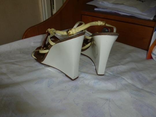 Louis Vuitton WHITE HEEL, LT YELLOW STRAP BROWN Wedges Image 4